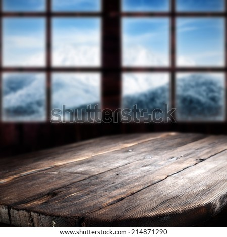 dark table and big window  - stock photo