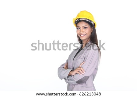 Dark Tan Skin Office Woman in Gray Suit wear Yellow Safety Hard Hat, Studio lighting white background isolated, copy space, safety concept
