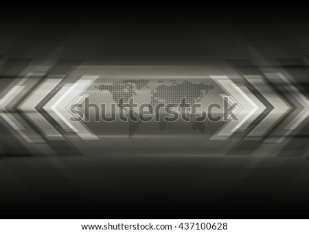 Dark technical background with map and arrows - stock photo