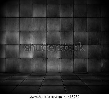 Dark Tiled Room - stock photo