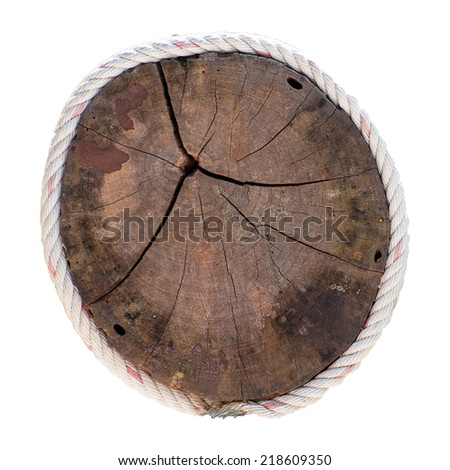 Dark tree trunk cross section, isolated on white - stock photo