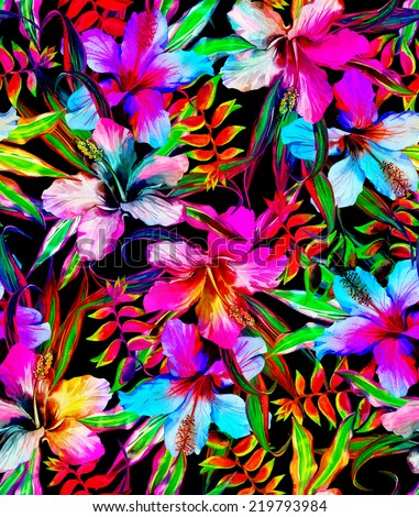 Dark tropical jungle seamless floral pattern in watercolor for fashion - stock photo