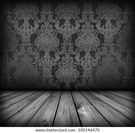 dark vintage black and white room with wooden floor and artistic shadows added - stock photo