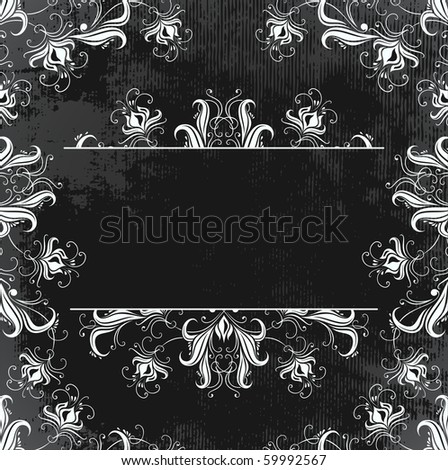 dark vintage frame with flowers - raster copy - stock photo