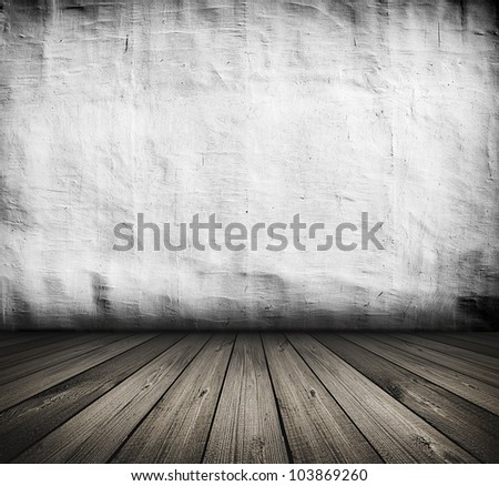 dark vintage white room with wooden floor and artistic shadows added - stock photo