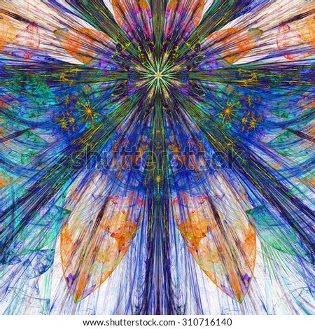 Dark vivid blue,pink,orange,green exploding flower/star fractal background with a detailed decorative pattern, all in high resolution. - stock photo