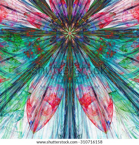 Dark vivid pink,blue,green,purple exploding flower/star fractal background with a detailed decorative pattern, all in high resolution. - stock photo