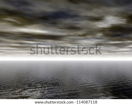 dark water landscape with light at horizon - 3d illustration - stock photo