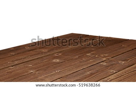 Dark Weathered Wooden Table Corner Isolated On White Background