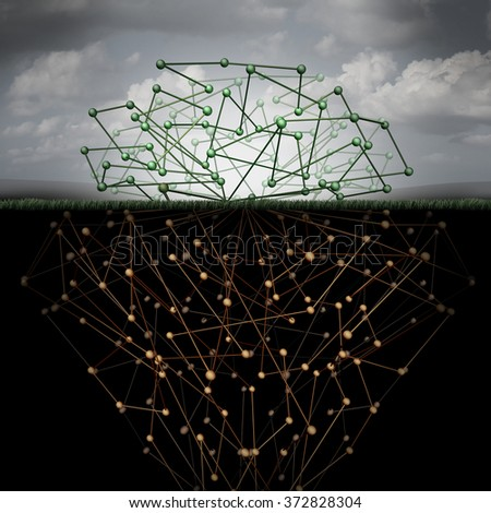 Dark web and hidden internet technology as a hidden website in cyberspace underground search engines as a buried data symbol for the deepnet as a network group of connected geometry as roots. - stock photo