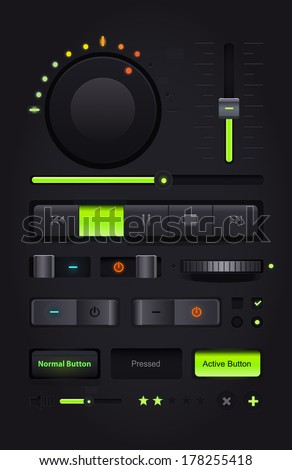 Dark Web UI Elements. Buttons, Switches, bars, power buttons, sliders.   - stock photo