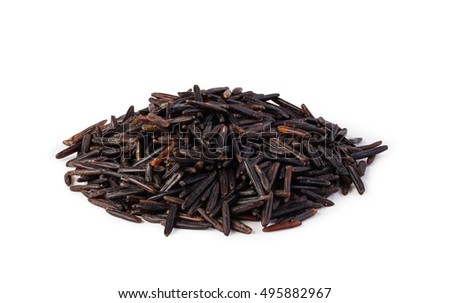 dark wild rice isolated on a white background