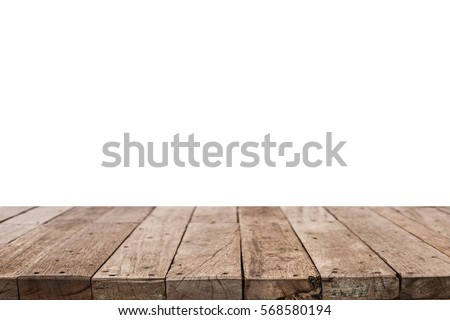 Dark Wood Table Top On Isolate White Background