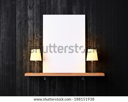 Dark wood wall with shelf and blank poster - stock photo
