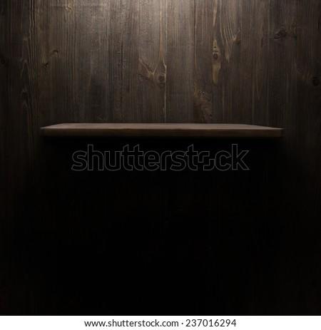 dark wooden background texture. Wood shelf, grunge industrial interior - stock photo
