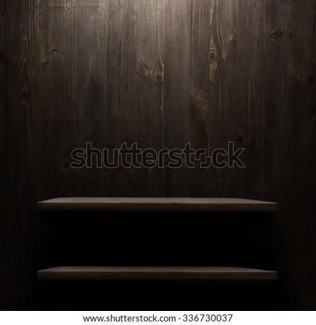 dark wooden background texture. Wood shelf, grunge industrial interior