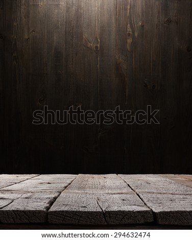 dark wooden background texture. Wood shelf, grunge industrial interior with light bulb - stock photo
