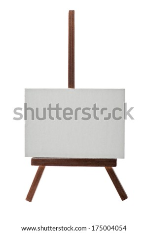 Dark wooden easel with blank canvas isolated on white