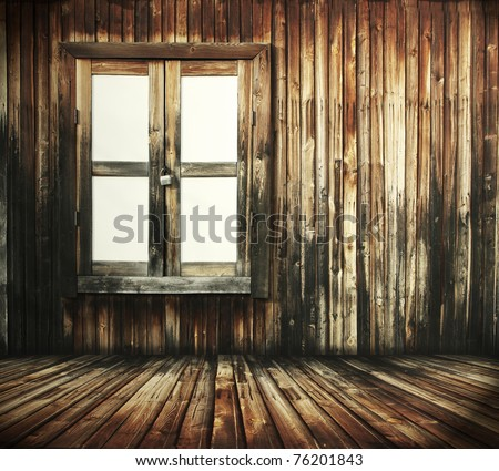 dark wooden interior with window - stock photo