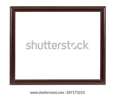 Dark wooden picture frame isolated on white background with clipping path
