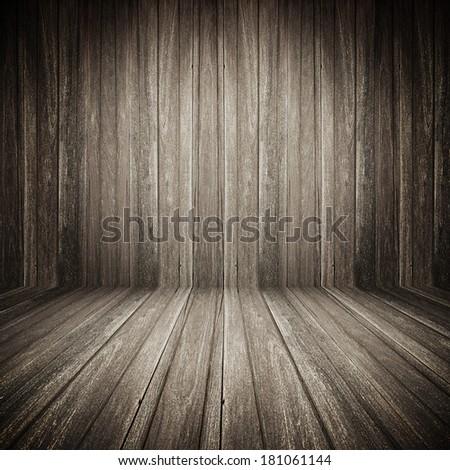 Dark wooden room background - stock photo
