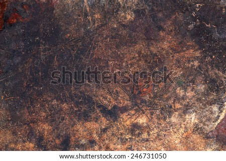 Dark wooden surface with scratches and spots texture