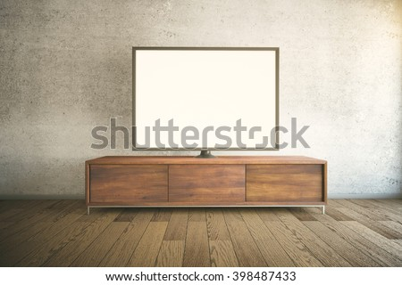 Dark wooden TV cabinet with blank white TV in room interior. Mock up, 3D Rendering