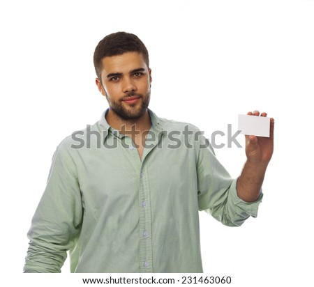 dark young man with a name card