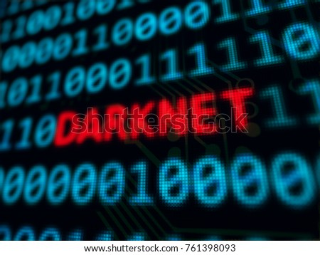 Darknet red text between blue binary data on pixels screen 3D rendered with depth of field