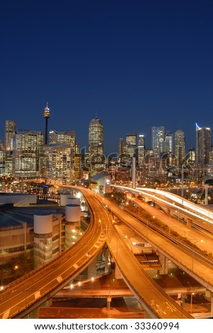 Darling Harbor, Sydney, Australia - City Scape and Sunset, during rush hour traffic - stock photo