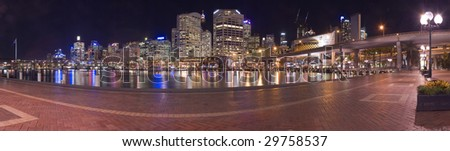 darling harbour at night panorama photo, light reflections - stock photo