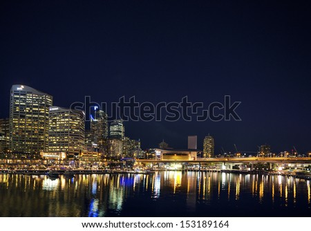 darling harbour entertainment area in sydney australia - stock photo