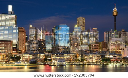 Darling Harbour nightscape - stock photo