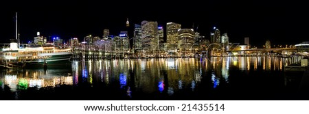 Darling harbour panoramic shot at night - stock photo