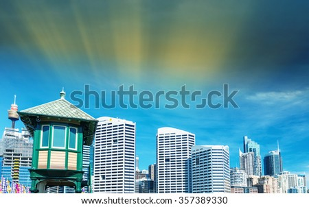 Darling Harbour, Sydney. Beautiful panoramic view of buildings and skyline. - stock photo