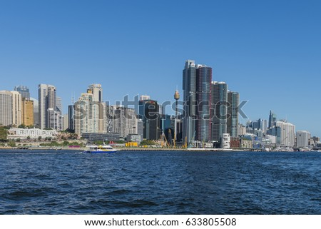Darling Harbour with Barangaroo Development Sydney, Australia - March 19, 2017. View of Darling Harbour, Sydney CBD, New South Wales, Australia.