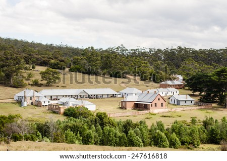 Darlington, historic settlement on Maria Island, Tasmania, Australia - stock photo