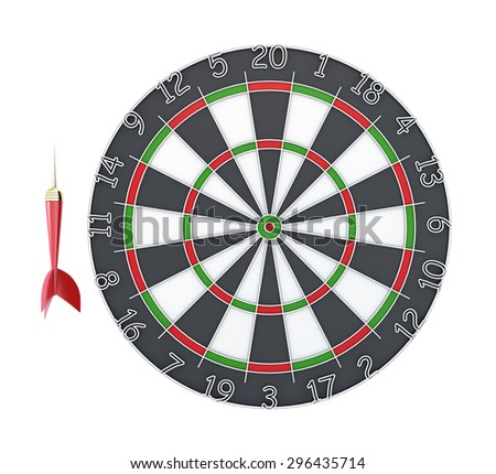 Dart and Dartboard isolated on white background. Clipping path. 3d illustration.