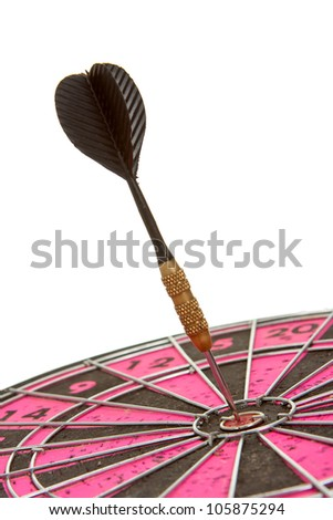 Dart arrow right in the center of a dartboard isolated on white - stock photo