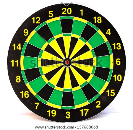 Dart board isolated on white background - stock photo