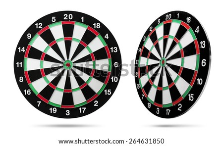 Dart board isolated on white background - stock photo