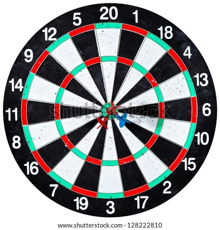dart board with three arrows isolated on white background - stock photo