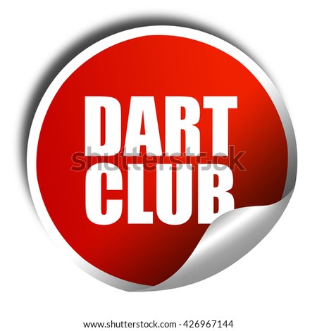 dart club, 3D rendering, a red shiny sticker - stock photo