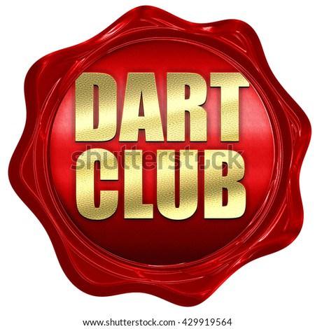 dart club, 3D rendering, a red wax seal - stock photo