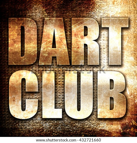 dart club, 3D rendering, metal text on rust background