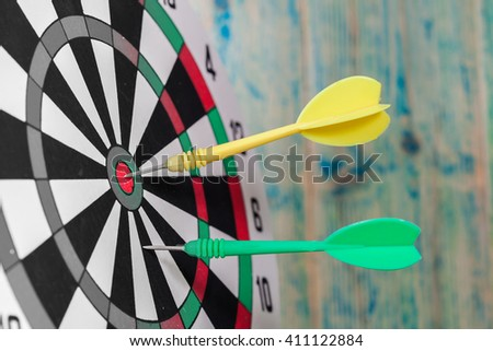 Dart hit the center of dartboard