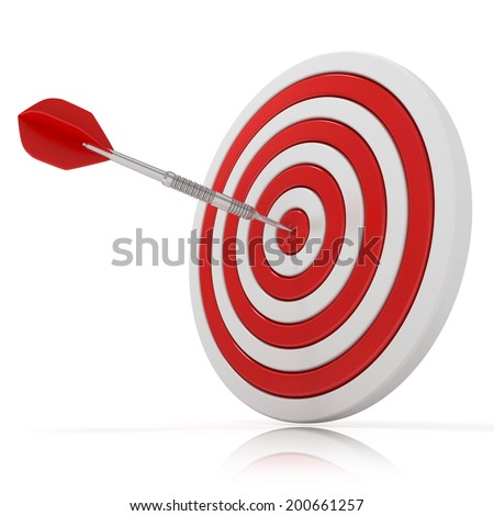 Dart hitting a target, 3d model Isolated on white background, side view