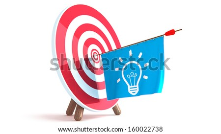 Dart Hitting A Target, Isolated On White Background, - stock photo