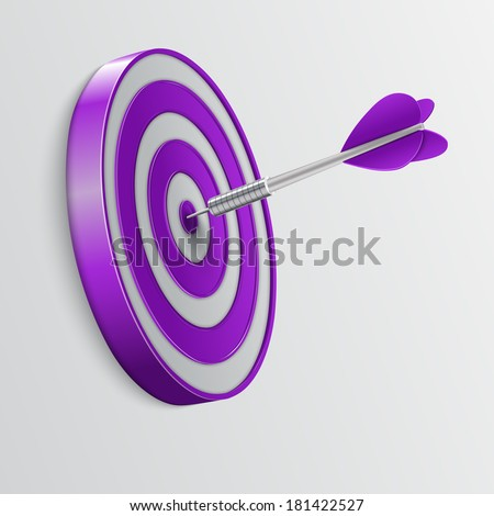 Dart hitting a target. Success concept. illustration.