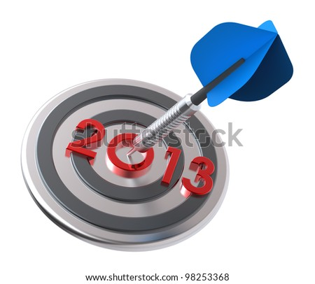 Dart hitting target - New Year 2013. Computer generated 3D photo rendering. - stock photo